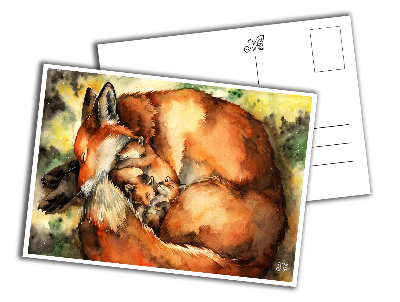 Card - Mother Fox with Pups