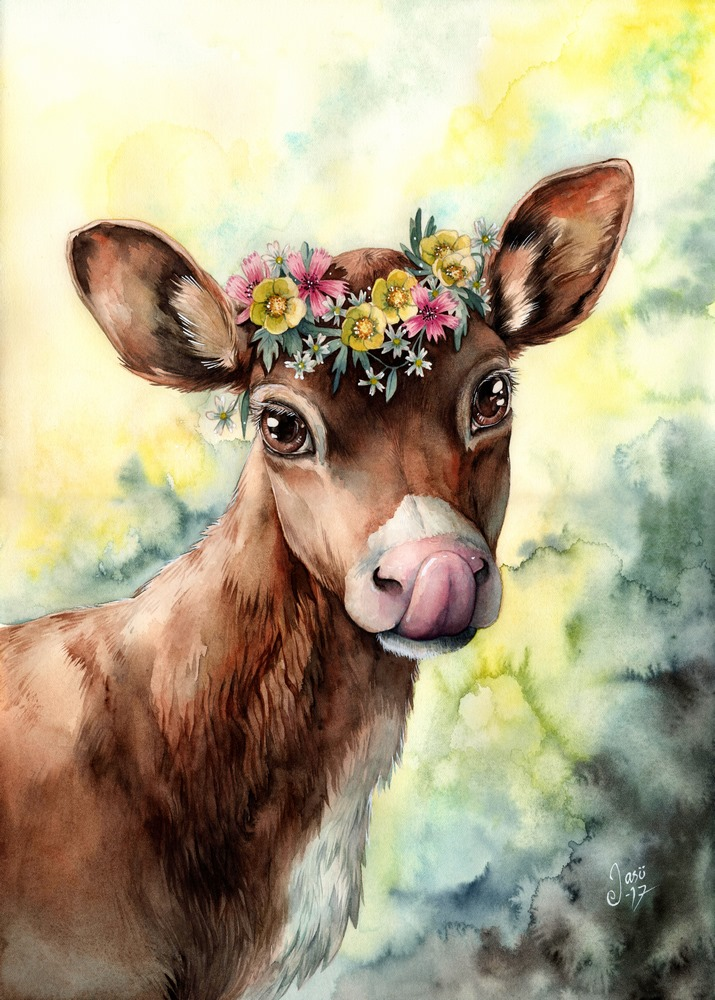 Print - Calf with a Flower Crown