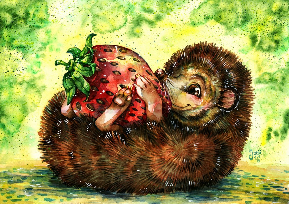 Print - Hedgehog and a Giant Strawberry