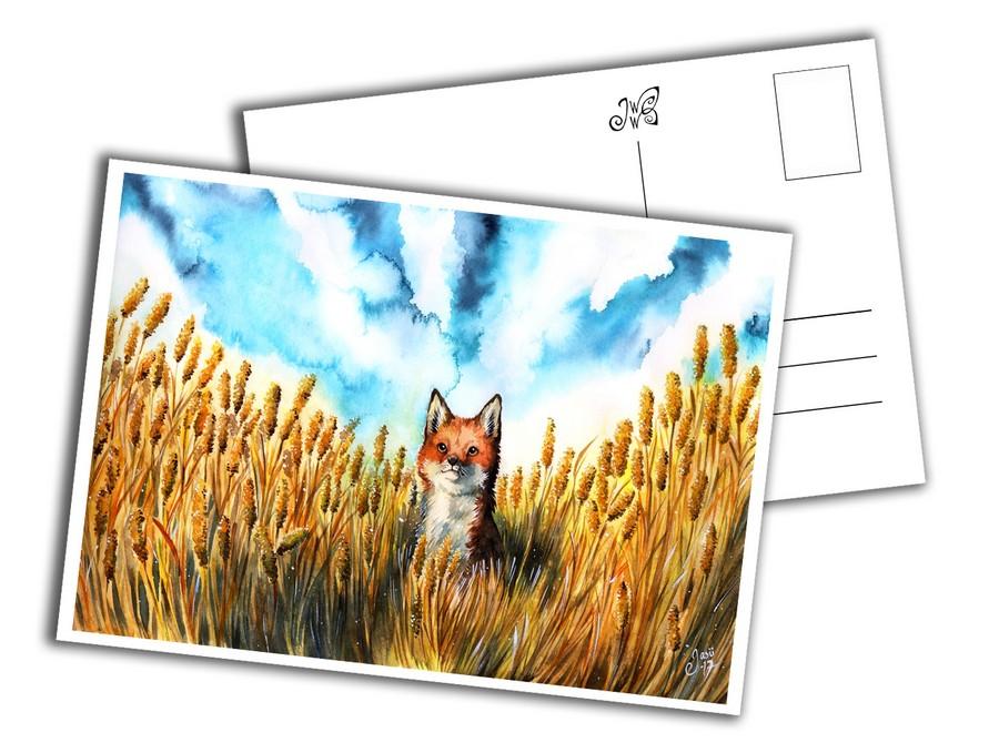 Card - Fox on a Grain Field