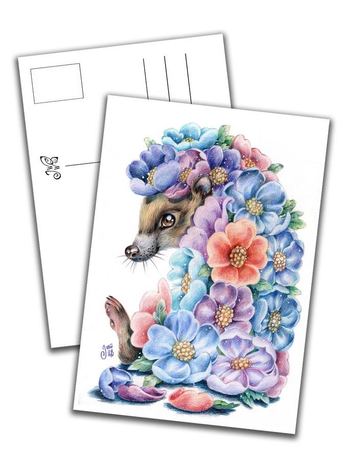 Card - Flower-Hedgehog