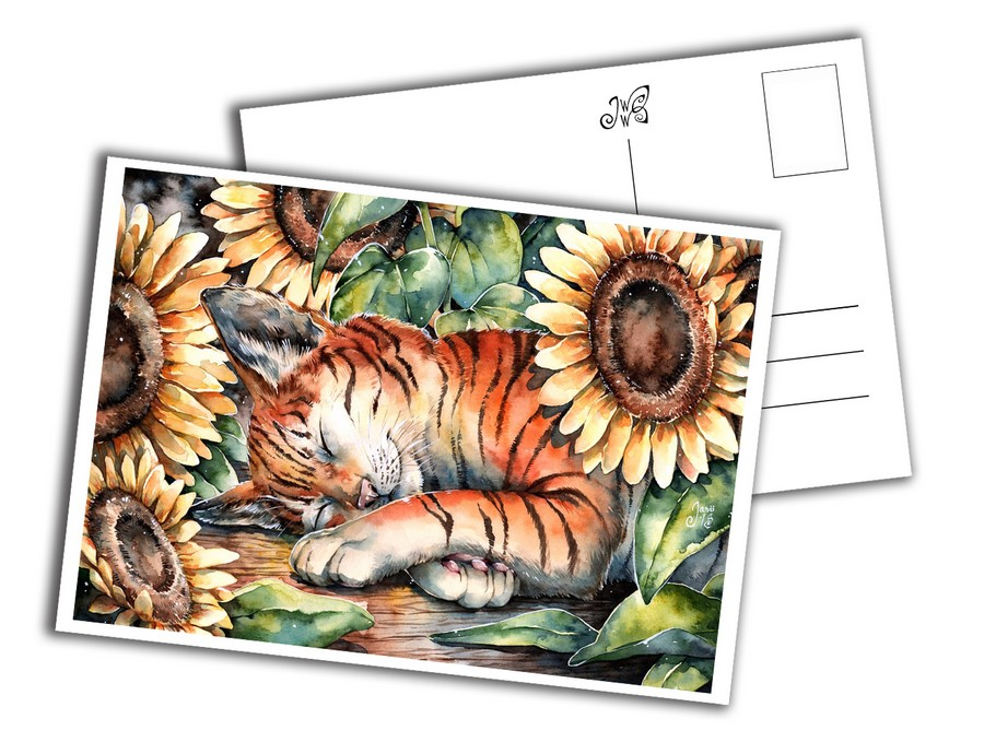 Card - Cat with Sunflowers