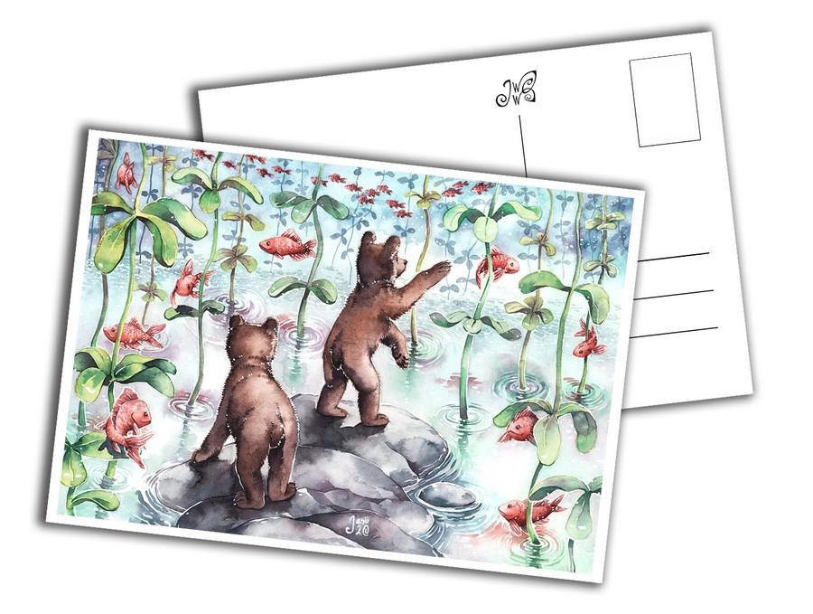 Card - Bear Cubs Catching Fish