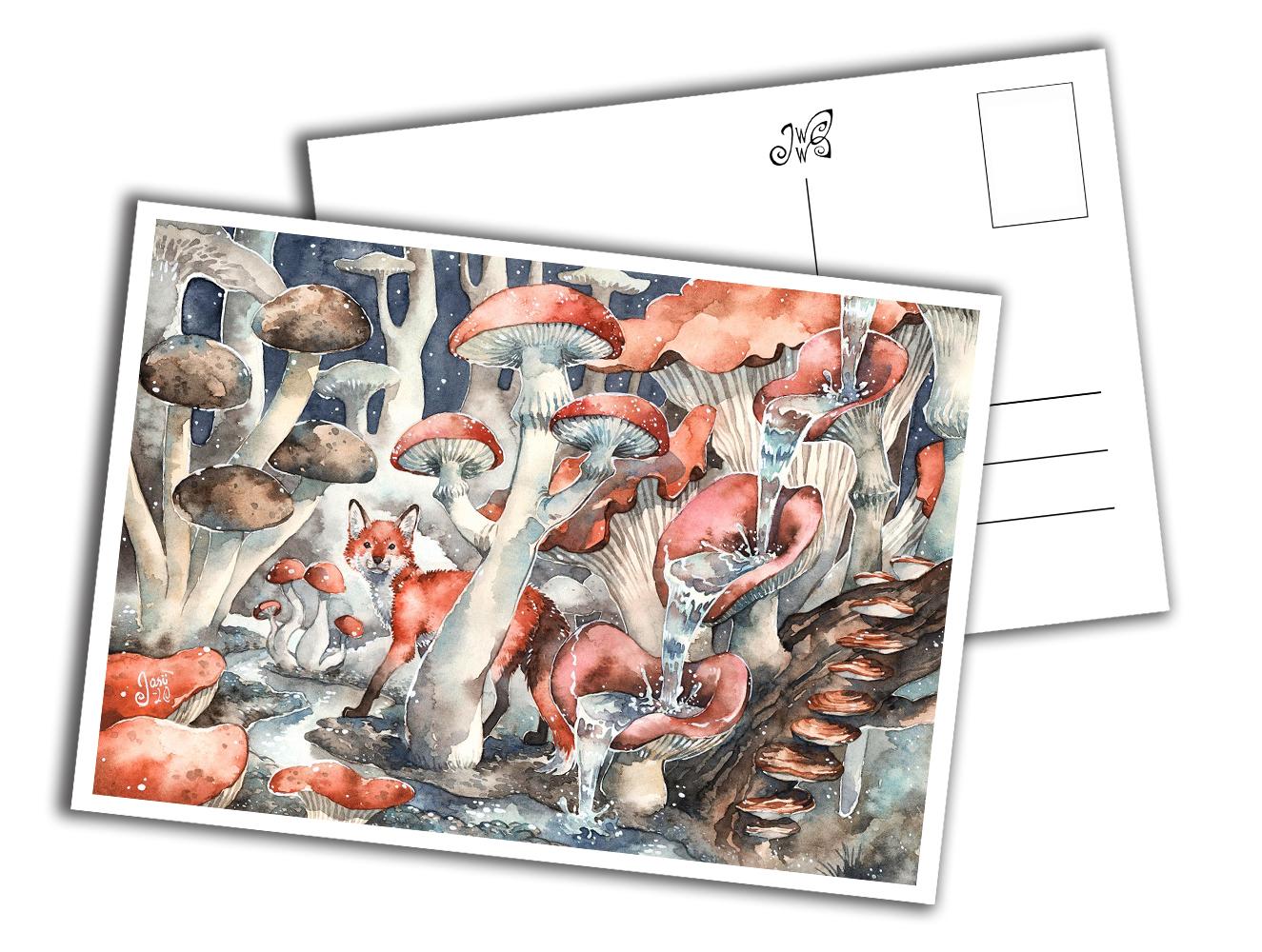 Card - Fox in a Mushroom Forest