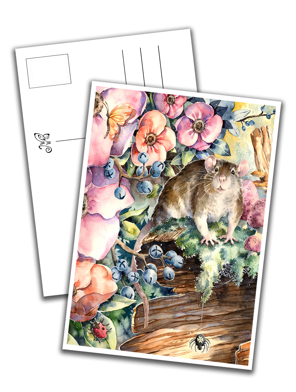 Card - Rat with Flowers