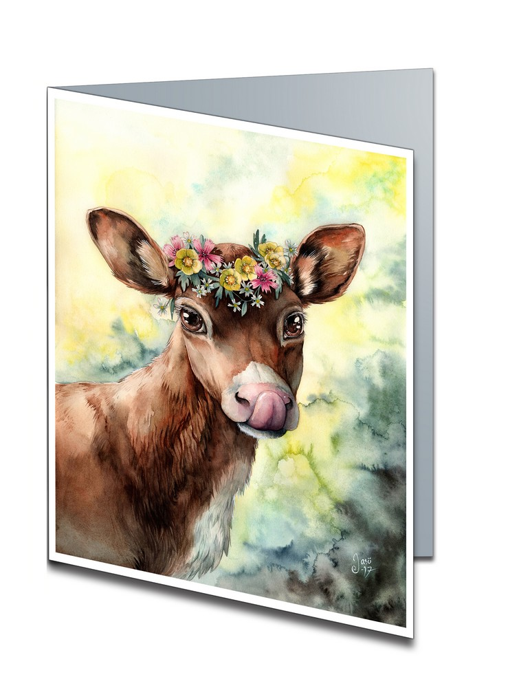Calf with a Flowercrown (A6-size, Folded)