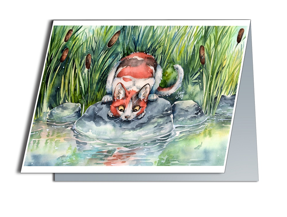 Card - Cat at a Pond