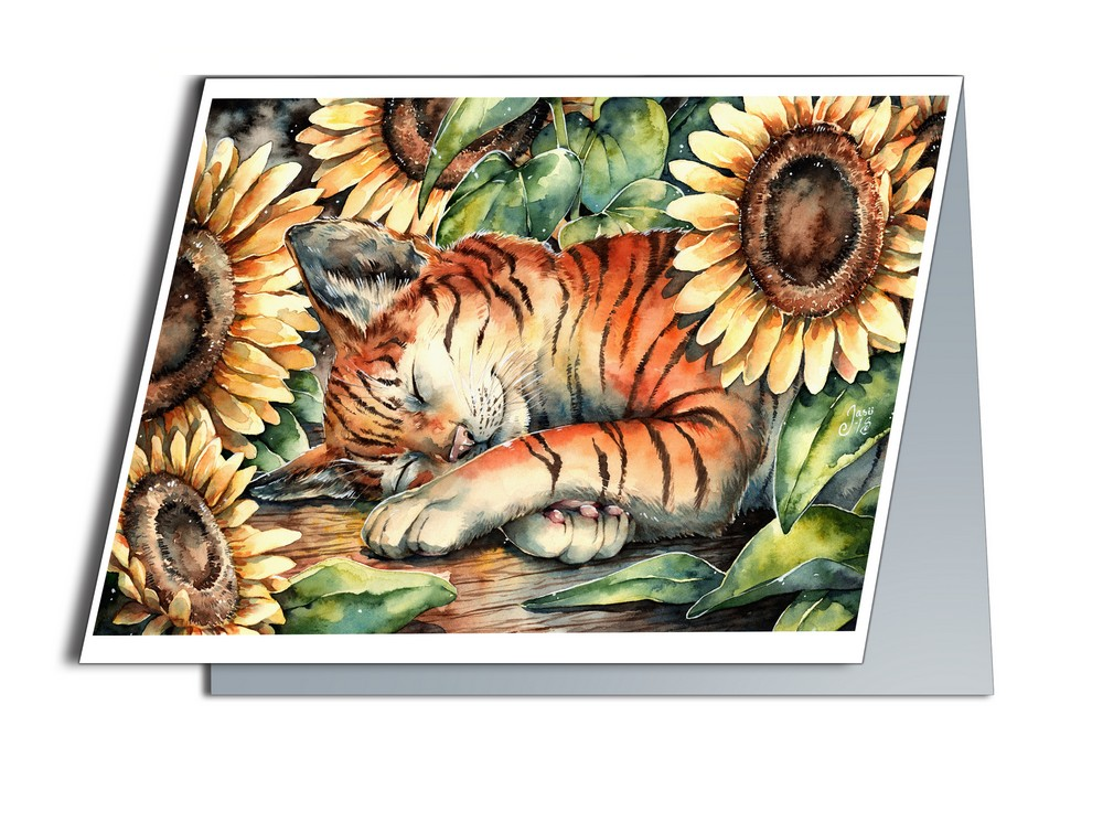 Cat with Sunflowers (A6-size, Folded)