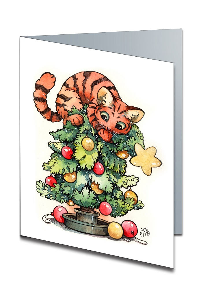 Cat on Christmas Tree (A6-size, Folded)