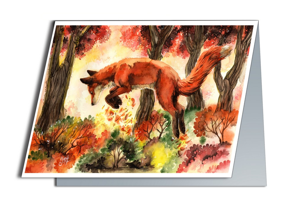 Card - Jumping Fox
