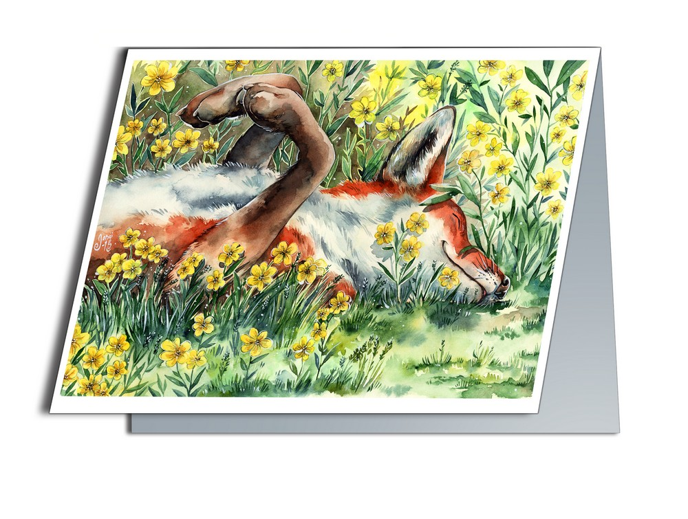 Fox Sunbathing (A6-size, Folded)