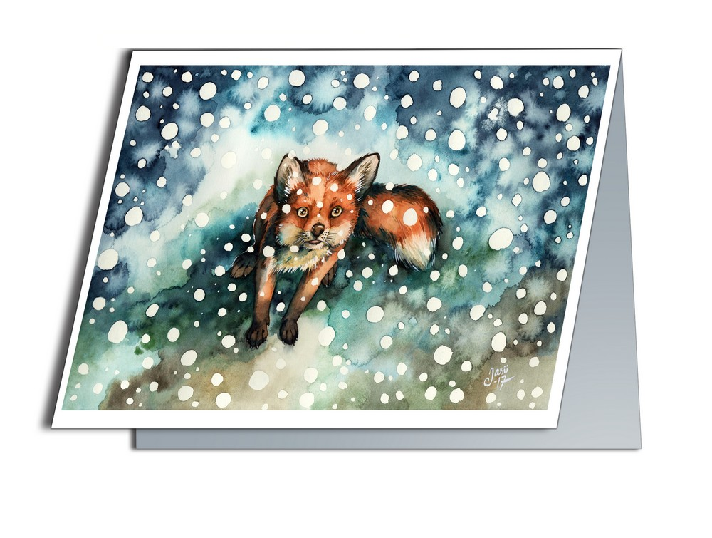 Fox in Snowfall (A6-size, Folded)
