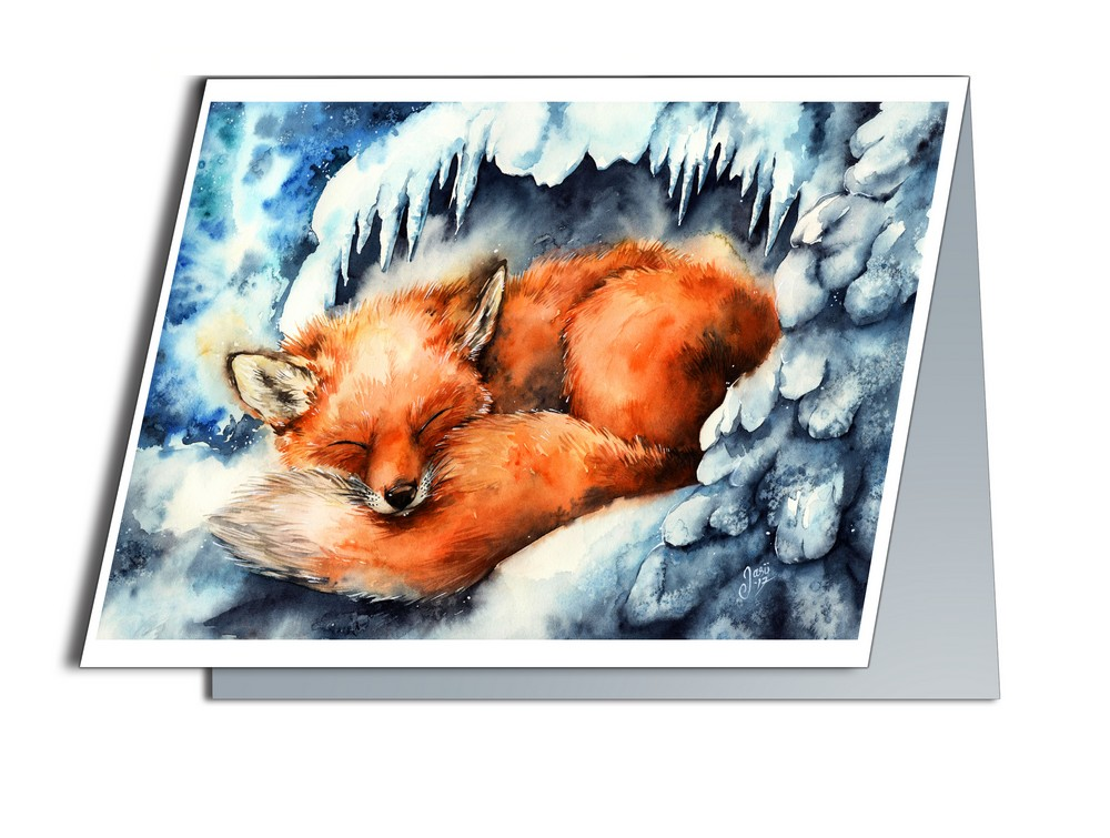 Fox in Winter (A6-size, Folded)