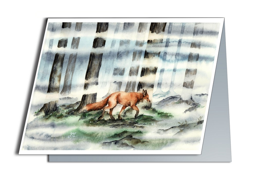Fox in the Mist (A6-size, Folded)