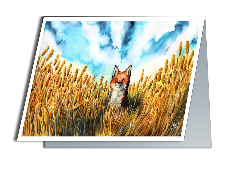 Card - Fox on a Grain Field