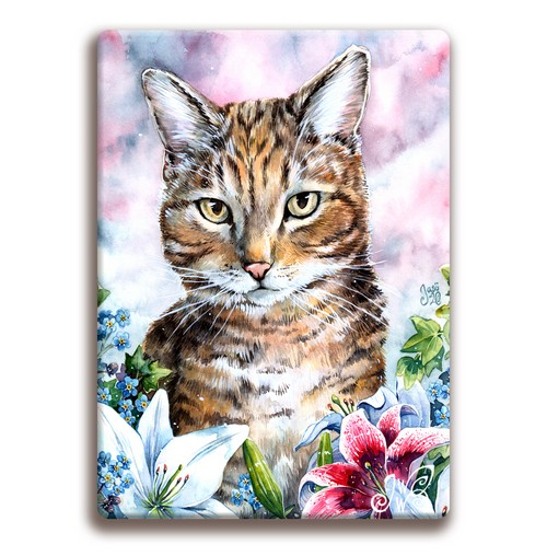 Magnet - Cat with Lilies